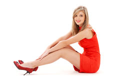 Lovely girl in red dress Royalty Free Stock Photography