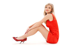 Lovely girl in red dress Stock Photo