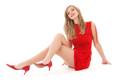 Lovely girl in red dress Royalty Free Stock Photos