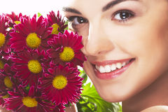 Lovely girl with red flower Royalty Free Stock Images