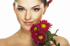 Lovely girl with red flower Royalty Free Stock Photos
