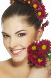 Lovely girl with red flower Stock Photos