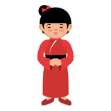 Lovely girl red kimono japanese icon graphic Stock Photos