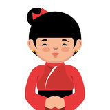 Lovely girl red kimono japanese icon graphic Stock Image