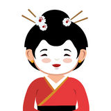 Lovely girl red kimono japanese icon graphic Royalty Free Stock Photo