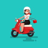 Lovely girl riding on a red moped. Vector illustration. Of a flat design Stock Image