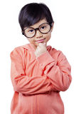 Lovely girl with round glasses look at the camera Royalty Free Stock Photo