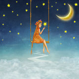 The lovely girl shakes on a swing. Illustration art Stock Photography