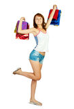 Lovely girl with shopping bags Stock Photos
