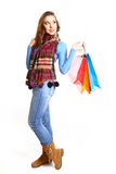 Lovely girl with shopping bags isolated on white background Royalty Free Stock Photography