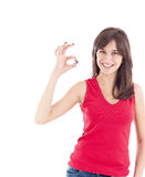 Lovely girl showing ok sign Stock Photos