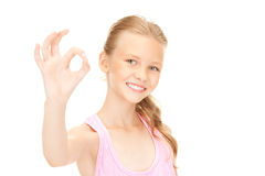 Lovely girl showing ok sign Stock Image