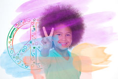 Lovely girl showing peace gesture Stock Image