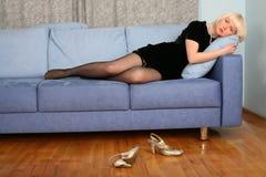 Lovely girl in sofa Stock Photography