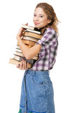 Lovely girl with stack of books Royalty Free Stock Photos