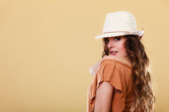 Lovely girl in summer clothes bright straw hat Royalty Free Stock Image