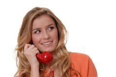 Lovely Girl on Telephone Royalty Free Stock Photos