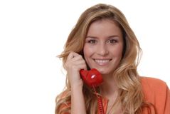 Lovely Girl on Telephone. Lovely girl on standard telephone Stock Image