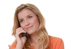 Lovely Girl on Telephone Royalty Free Stock Images