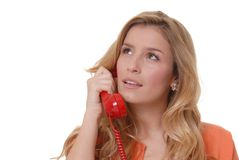 Lovely Girl on Telephone. Lovely girl on standard telephone stock photos