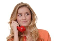 Lovely Girl on Telephone Stock Images