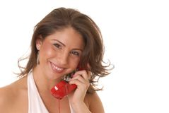Lovely Girl on Telephone Stock Image