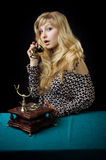 Lovely girl on telephone Royalty Free Stock Photo