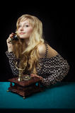 Lovely girl on telephone Stock Image