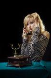 Lovely girl on telephone Stock Images