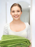 Lovely girl with towels Royalty Free Stock Photography