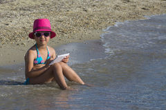 Lovely girl on tropical beach Royalty Free Stock Photography