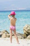 Lovely girl on tropical beach Stock Photos