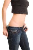 Lovely girl undress blue jean Royalty Free Stock Images