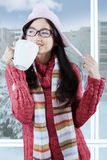 Lovely girl in warm clothes enjoy warm drink Royalty Free Stock Photography