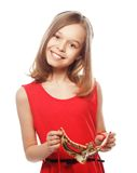Lovely girl wearing a red mask. Royalty Free Stock Photos