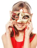 Lovely girl wearing a red mask. Stock Photos