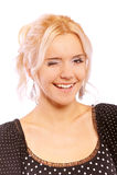 Lovely girl winks Royalty Free Stock Photos