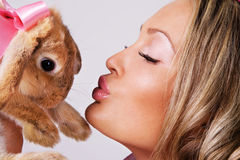 Lovely Girl With Cute Rabbit Royalty Free Stock Photos