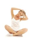Lovely girl working out over white Royalty Free Stock Image