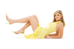 Lovely girl in yellow dress Royalty Free Stock Images