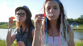 Lovely girls adolescent with soap bubbles cheerfully spend time on meadow. Lovely girls adolescent with soap bubbles cheerfully spend time on green meadow stock footage