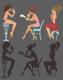 Lovely girls. Cartoon sitting and drinking girls Stock Illustration