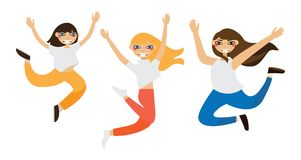 Lovely girls jumping in flat style isolated on white. Vector illustration stock illustration