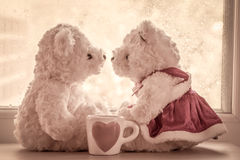 Lovely glass with couple teddy bears in love Royalty Free Stock Photo