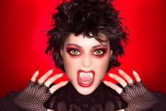Lovely Gothic Girl. Vampire Makeup. Caricature Stock Images