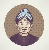 Lovely grandma. Vector portrait of lovely grandmother Royalty Free Stock Image