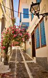 Lovely Greek street, Vathi, Samos Royalty Free Stock Image