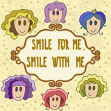 Lovely greeting card with smiling faces and frame - smile with m Stock Photos