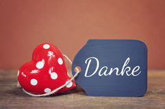 Lovely greeting card - thank you. Lovely greeting card - german for thank you Stock Image