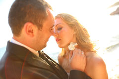 Lovely Groom and bride outdoors on a sunny day Royalty Free Stock Image